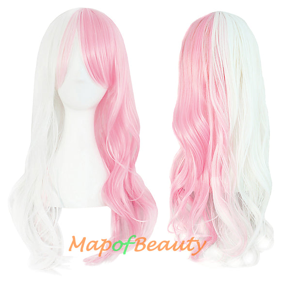 Ombre Wig Synthetic Long Curly Multi Colored Costume Party Cosplay Wigs for Women