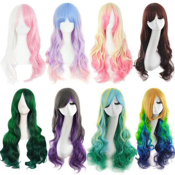 Synthetic Long Naturally Curly Multi Colored Costume Party Cosplay Harajuku Wigs