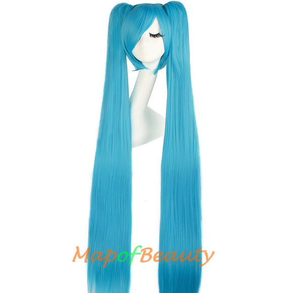 Lolita Hatsune Miku Three-piece Cosplay Wigs Ponytail Claw Clip Lovely Girls Women Long Straight Hair Heat Resistant Ginger