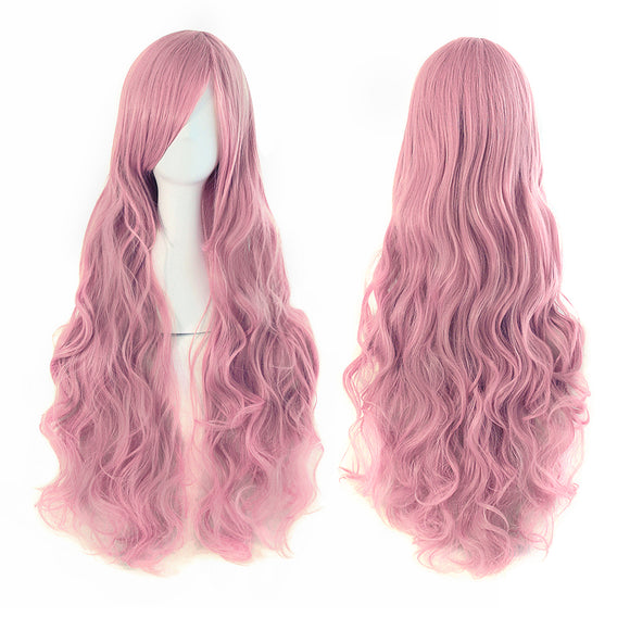 Rouge Pink,Waves roll wig,long,side bangs,Lace front wig,