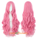 Fluffy,Dark Pink,Long curly,Heat Resistant Wigs