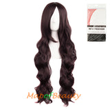 Wave Curly Wigs for Women with Bangs Long Syntehtic Fiber Heat Resistant Cosplay Wig Cap