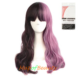 Multi-colored Charming Flat Bangs Long Wavy Hair Women's Party Full Wig