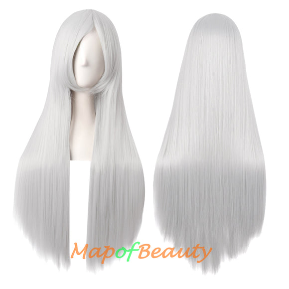 Natural Straight Wigs for Black Women Heat Resistant Synthetic Fiber Daily Use 31 Inch Medium Length Cosplay Wigs