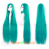 Green,cosplay wig,long straight,side bangs