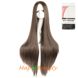 40 Inch Carve Bangs Long Straight Wigs High-temperature Fiber Cosplay Costume Anime Wigs