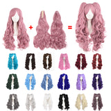 Lace wig,Long curly,Rouge Pink,Blue,White,Three Pieces