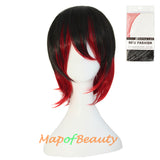 Cartoon Fresh and Bright Mixed Color Lady Men Short Broken Cosplay Wigs