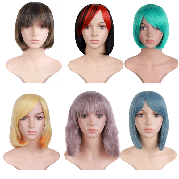 Beautiful charming Mixed Color Short Slightly Curly Hair Anime Lady Cosplay Wigs