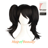 Anime Sweet Lovely Three Piece Wig Short Cosplay Wigs(Black)