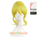 Anime Cosplay Charming Short Curly Clip On Ponytails Wig Costume Party Wigs Yellow