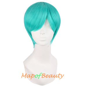 Fashion Men's Short Paragraph Handsome Cosplay Wigs(Water Blue)