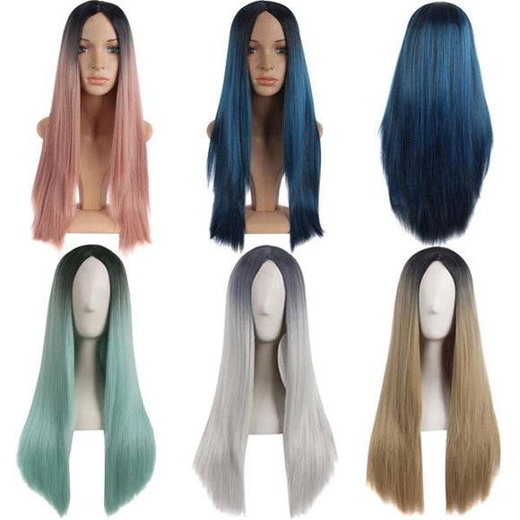 Carve Bangs Long Straight Gradient Color Wigs Carve bangs Cosplay Harajuku Wigs