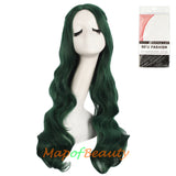 Long Deep Wave Braided Wigs For Women Carve Bangs Wavy Curly Cosplay Synthetic Fiber(Granny Gray/White/Pine Green)