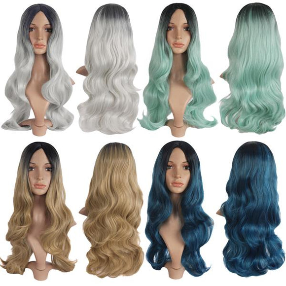 Mixed Color Sexy Big Wave Roll Long Wigs Carve Bangs Cosplay Harajuku Wigs