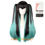 Ombre Cosplay Wigs Long Straight Ponytail Synthetic Hair Japanese Anime Colored Wig
