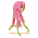 Ombre Braided Cosplay Wigs Long Ponytail Synthetic Hair Japanese Anime Colored Wig