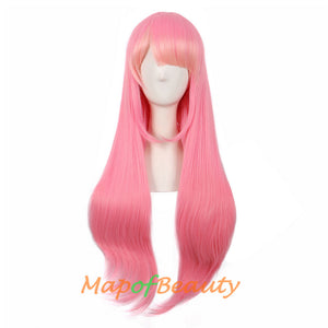 Flat Bangs Long Straight Multicolor  Wigs The twin maids Cosplay Costume Anime Wigs