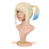Sweet And lovely gradient Colorful Short Double Pony Tail Cosplay Costume Anime Wigs