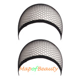 Wig Cap 2 Pieces One Size Elastic Invisible Nylon Hair Net(Black/Coffee/Nude)