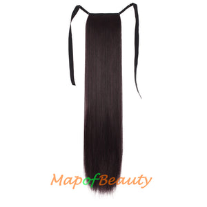 Long Straight Natural Soft Fiber Material Strap Type Ponytail