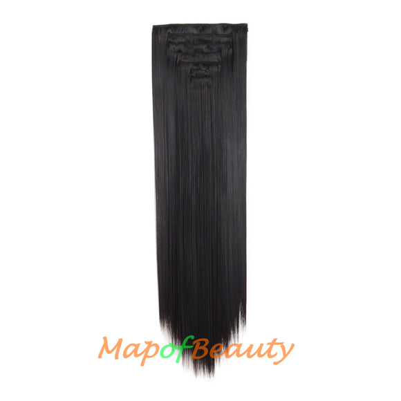 Heat Resistant Hair Extensions 16 Clip Long Straight Ordinary Hairpiece