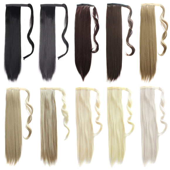 Fashion Heat Resistant Long Straight Hair Paste Ponytail