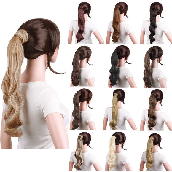 Fashion Party Long Curly Big Wave Roll Hair Paste Wrap Ponytail