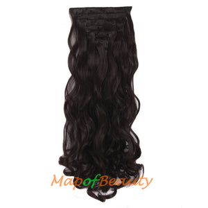 24 Inch Beauty Charming 16 Clip Long Curly Wavy Women Ordinary Hairpiece