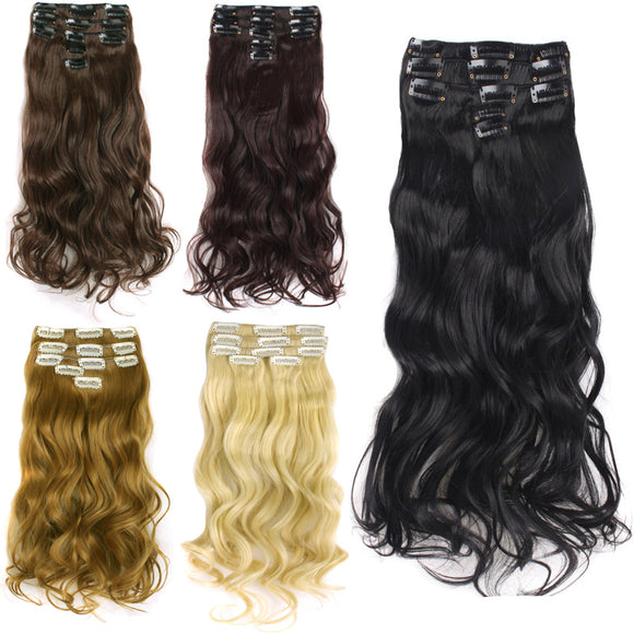 20 inch Hair Extensions 11 Clip Wave Curly Long Curly Lace Wigs Hairpiece