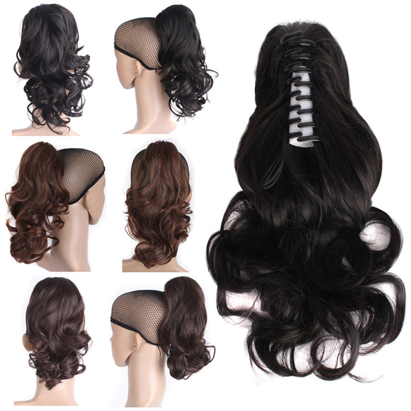 Charming Waves Curly Medium Length Synthetic Wig Claw Ponytail
