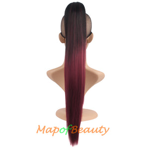 Dignified Elegant Gradient Color Long Straight Harajuku Hair Gripper Ponytail