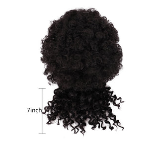 Short Afro Kinky Curly Bun With Bangs Aritificial Synthetic Chignon Wigs Drawstring Ponytail