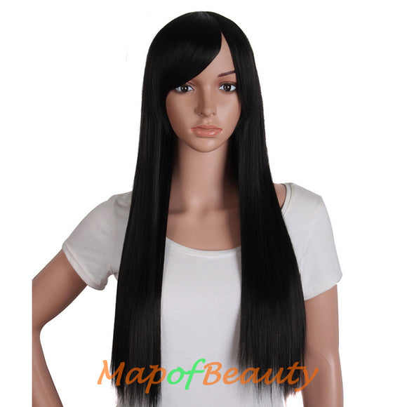 28 Inch Daily Use Oblique Bangs Supple Bright Long Straight Wigs(Dark Brown/Brownish Black/Brown)