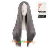 28 Inch Carve Bangs Long Straight Wigs Synthetic Party Ordinary Wigs