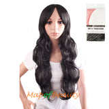 Side Bangs Large Wavy Long Curly Ordinary Wigs(Dark Brown/Brownish Black)