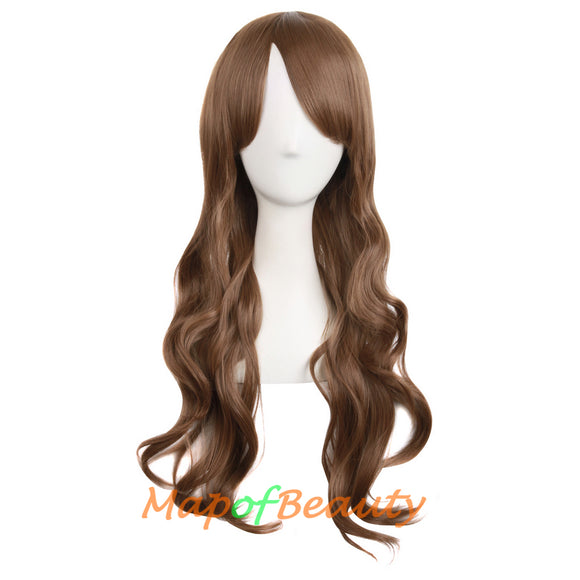 Temperament Girls Sweet And Lovely Wavy Long Wigs