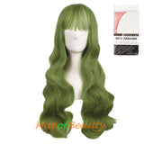 Fahion Air Bangs Long Wavy Curly Hair Cosplay Wigs£¨granny gray/Light Sea Green)