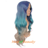 Carve bangs Unique and attractive Long wavy hair Mixed color harajuku wig