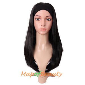 Long Natural Curly Wigs Synthetic Heat Resistant Headband Wig Daily Use