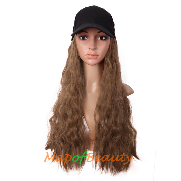 Baseball Hat Wig Long Kinky Curly Adjustable Attached Cap Synthetic Hair Extension Natural Party Wigs