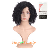 12 Inch Women Afro Curly Side Bangs Charming Middle Length Fiber Wigs (Black)