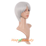 Synthetic Hair Side Bangs Short Unisex Wigs Straight Wigs Heat Resistant 12 Inch (Blonde)