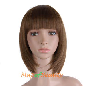 Short Straight Fiber Material Flat Bangs Daily Use Ordinary Wigs