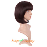 Bob Wigs with Neat Bangs for Women Short Straight Fiber Daily Use Ordinary Wig