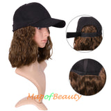 Adjustable Baseball Cap Wig Short Kinky Curly BOB Synthetic Hair Extension Natural Party