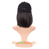 Short Straight Bob Baseball Hat Wig Heat Resistant Synthetic Hair Extension Adjustable Cap Daily Use Wigs
