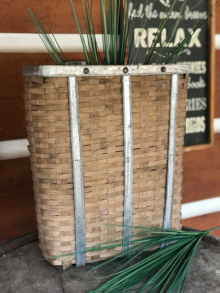 Bamboo Door Basket Tin Trim