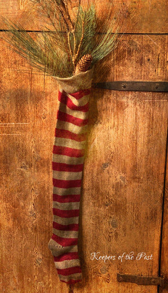 Red Striped Wool Stocking with Pine Sprigs!
