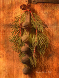 Primitive Christmas Sleigh Bells and Pine!